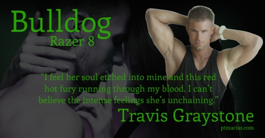 Bulldog is the youngest of the Razer 8 Delta Force Operatives. He enjoys life. He's called upon to help out one of his team operative. Infinity is there.  He runs into Katherine Morgan, a sweet young victim. In the process of extraction he gets caught by the prostitution gang. They mistake him with being her boyfriend.  Bulldog grabs onto that line and poses as her boyfriend. In the process of rescuing Katherine from the mob he becomes entangled in her web. Will Bulldog's skills and training save him from falling under her spell? Will he be able to outrun the mob and his soul? US http://www.amazon.com/dp/B00G3RC8WW UK –http://ow.ly/qqHbX http://www.smashwords.com/books/view/370076 http://www.barnesandnoble.com/w/bulldog-pt-macias/1117336183?ean=2940045485937&itm=1&usri=p.+t.+macias https://itunes.apple.com/us/book/bulldog-razer-8/id777139213?mt=11